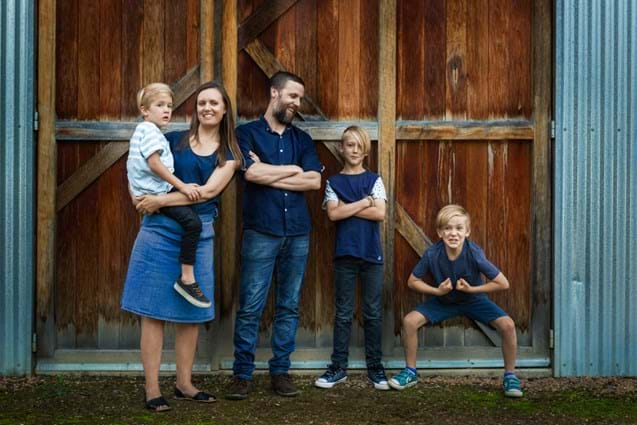 Young Family Portraits - Farm Building